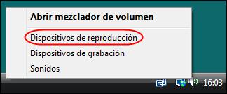 Abrir Dispositivos de reproducción