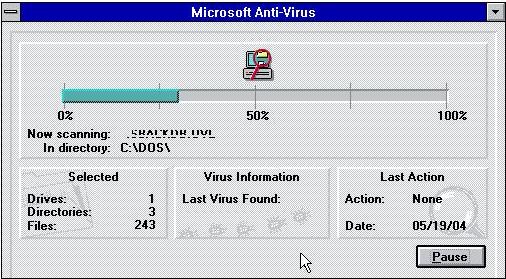 Microsoft Anti-Virus en Windows 3.1