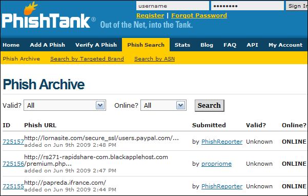 Página principal de PhishTank