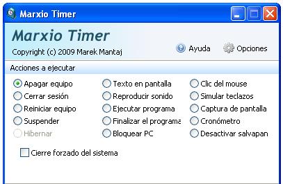 Marxio Timer - Acciones a ejecutar