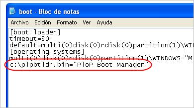 Añadir línea a Boot.ini