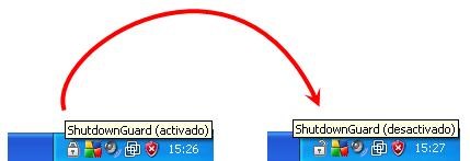 Activación de ShutdownGuard haciendo clic en el candado