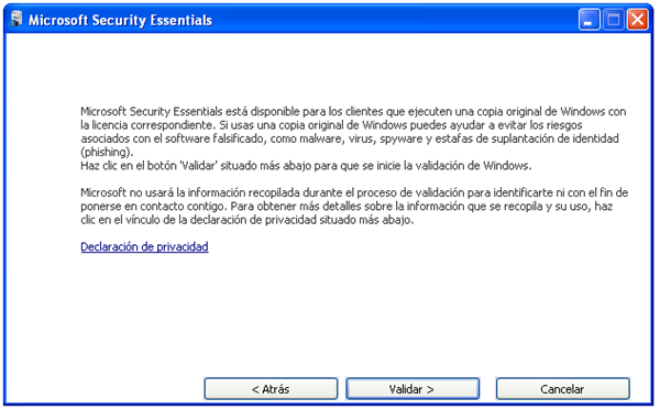 Validación de la copia de Windows