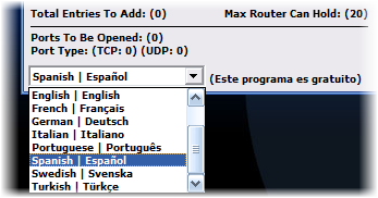 Elegir el idioma de Simple Port Forwarding