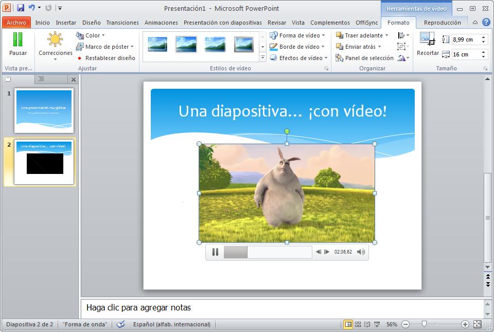 Diapositivas con vídeo
