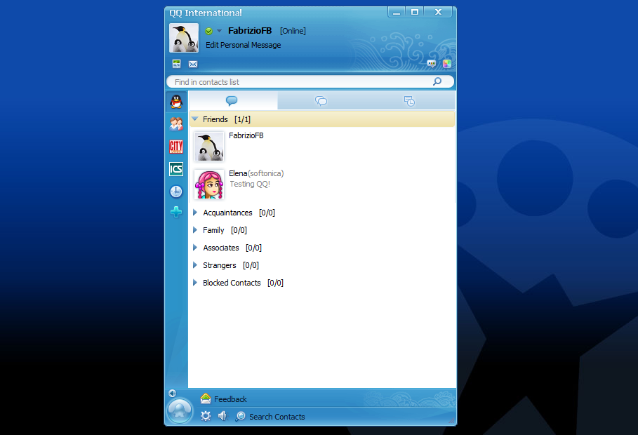 La ventana principal de QQ Messenger
