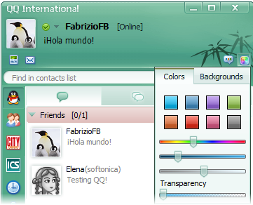 La interfaz gráfica de QQ