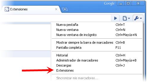 Chrome 4 tiene extensiones