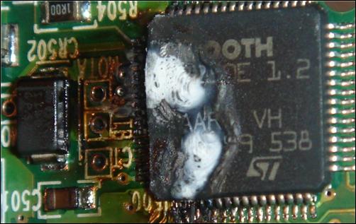 Chipset quemado de un disco duro