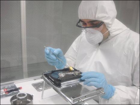 Laboratorio de reparación de discos duros