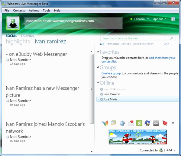 Otra pantalla de WLM 2010