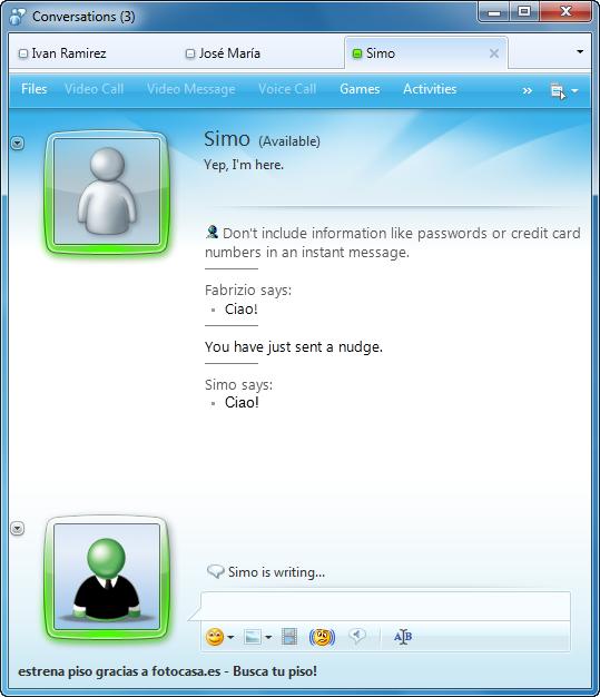 La ventana de chat de Messenger 2010