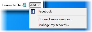 El menú de redes de Messenger 2010