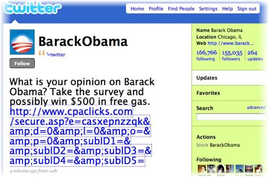 Cuenta Twitter hackeada