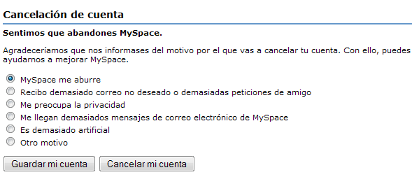 Cancelar myspace