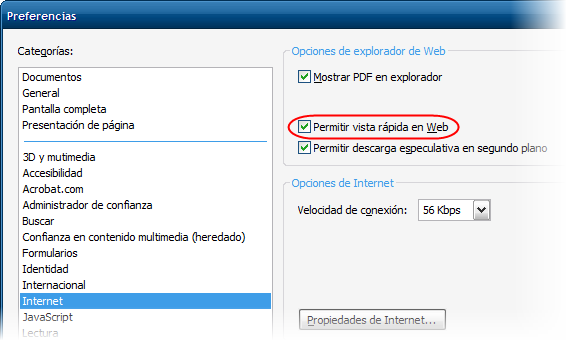 Menú Internet de las Preferencias de Adobe Reader