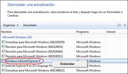 Cómo desinstalar Internet Explorer 9