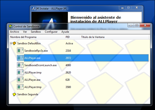 Ejecutando Sandboxie con AllPlayer