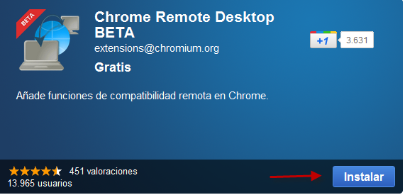 Chrome Remote Desktop en el Market de Google