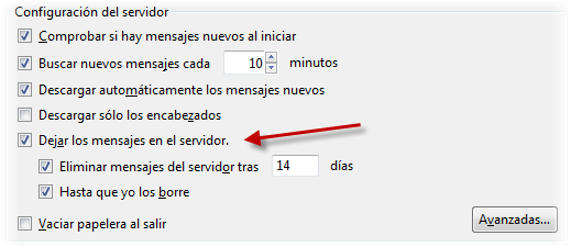 Dejar mensajes en el servidor