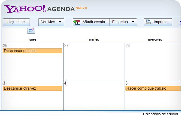 Calendario de Yahoo