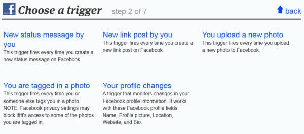 Triggers de Facebook