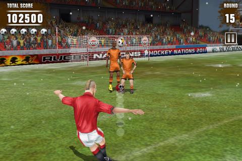As cobranças de falta no Football Kicks são bem reais