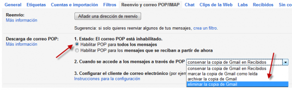 POP3 en GMail