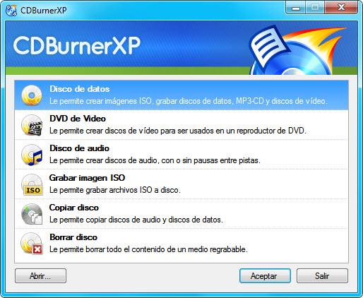 Ventana de CDBurnerXP