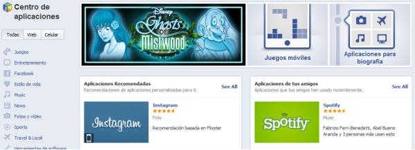 Centro de aplicaciones de Facebook