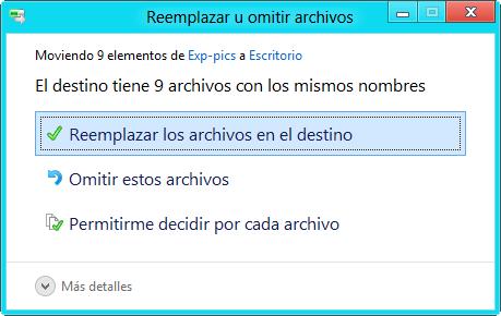 Reemplazar archivos
