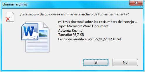 Borrar archivo definitivamente
