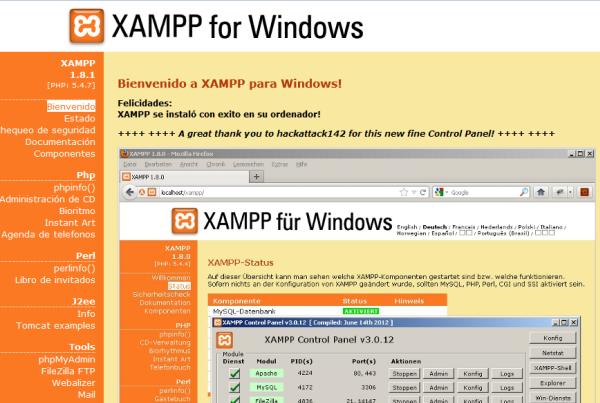 pagina de inicio de xampp