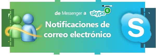 Notificaciones de correo sin Messenger