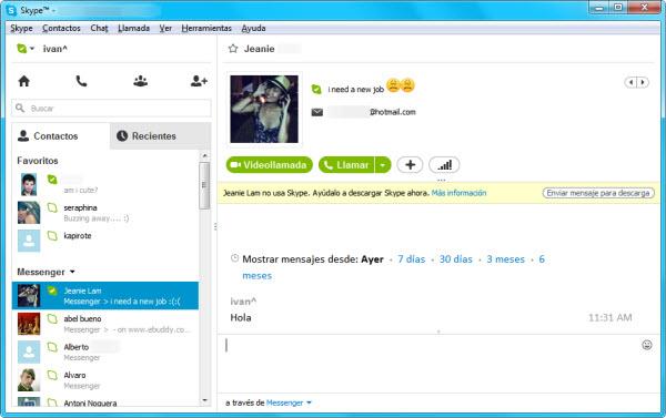 Conversacion en Skype