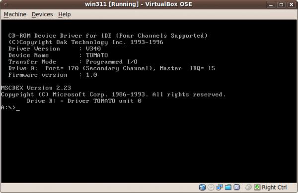 MS-DOS ejecutándose en VirtualBox para Linux