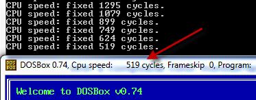 DOSBox ejecutándose a 519 ciclos por segundo