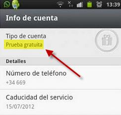 Pantalla de Info de cuenta de WhatsApp