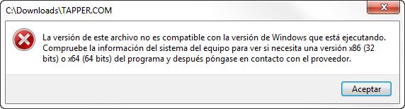 Error en Windows 7 x64 al ejecutar Tapper, un juego de 16 bits