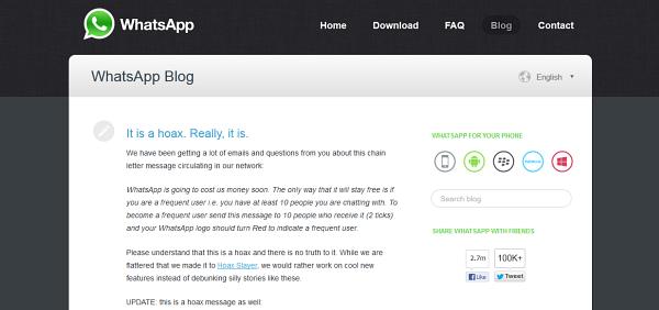 WhatsApp desmientiendo una falsa noticia en su blog corporativo