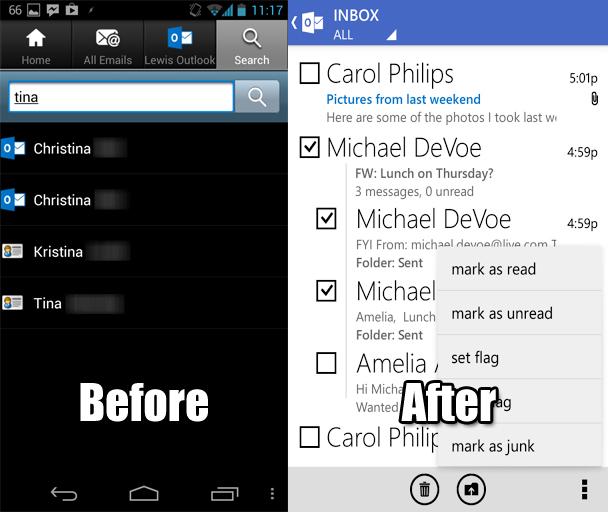 El antes y el después de Outlook.com en Android