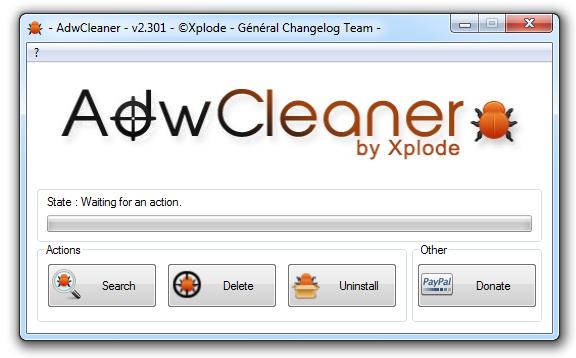 Startfenster von AdwCleaner