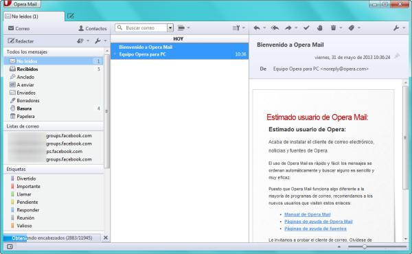 Interfaz de Opera Mail