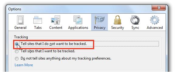 Configurações anti rastreamento