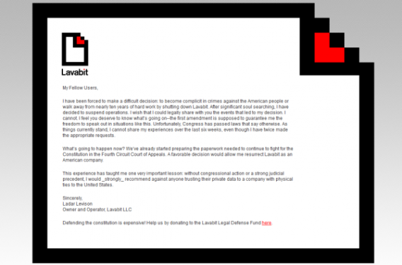Lavabit shutdown