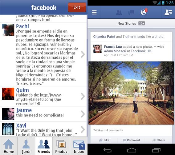 Facebook Symbian y Android