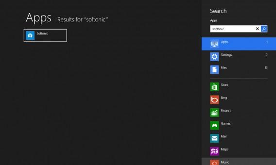 Recherche app Softonic Windows 8