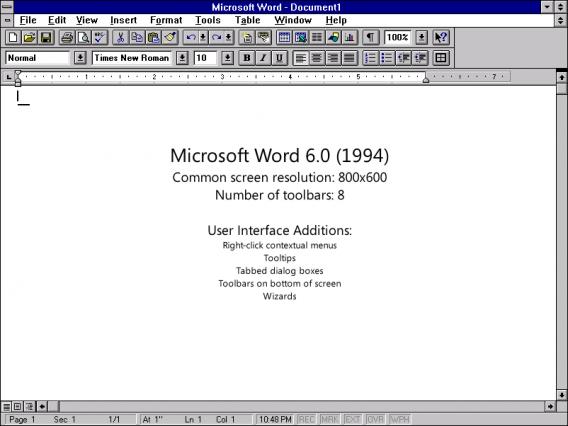 Word 6 était simple et rapide et comprenait seulement deux barres de boutons et une barre de menu.
