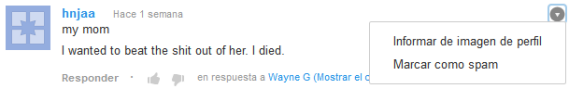 Youtube comentario
