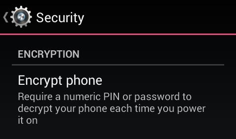 tela encriptação Android